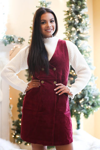 Tinsel and Holly Red Balloon Sleeve Fuzzy Sweater