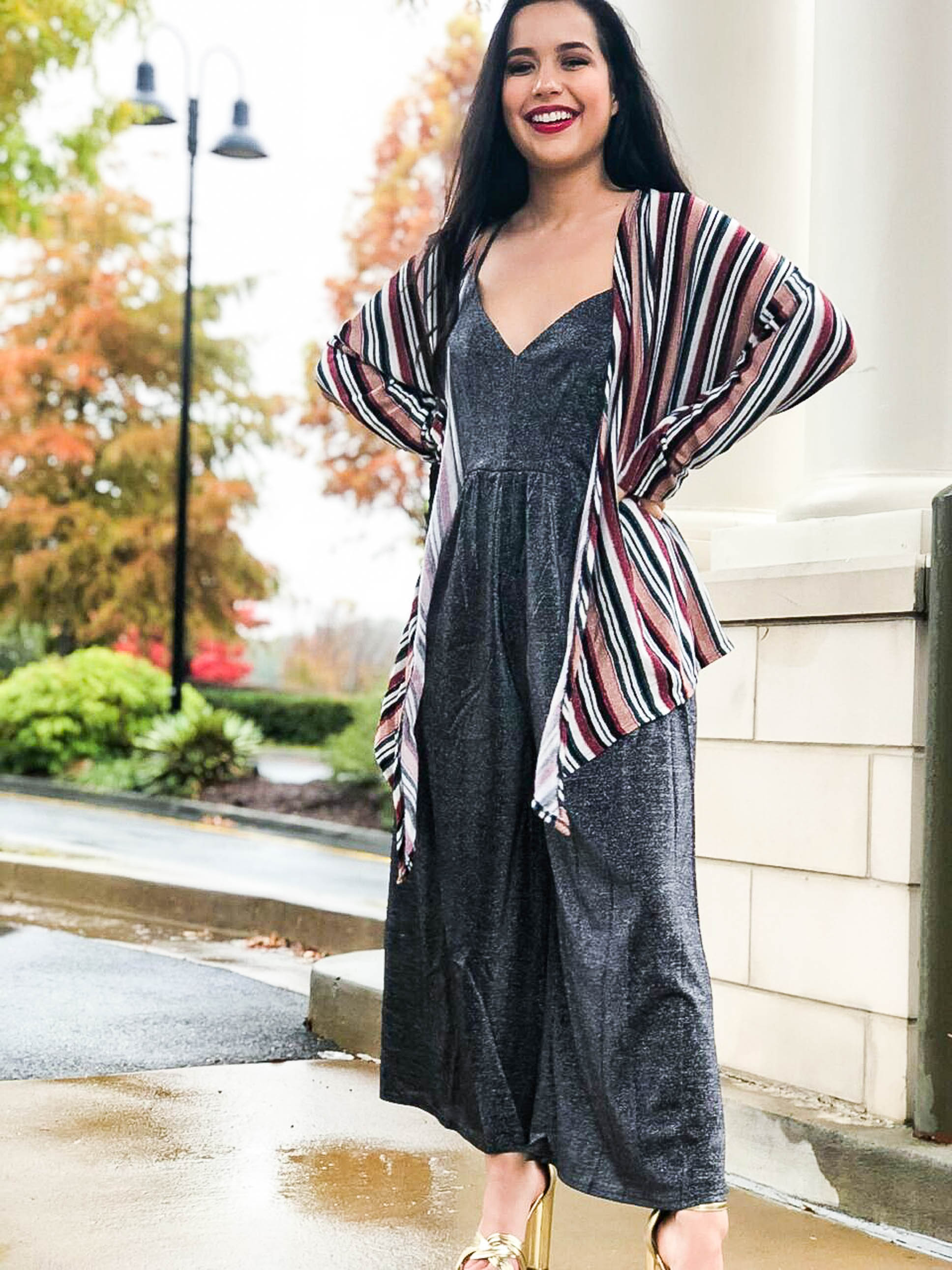 Shiny Ornaments Striped Tie Front Cardigan - The Flawless Babe Boutique