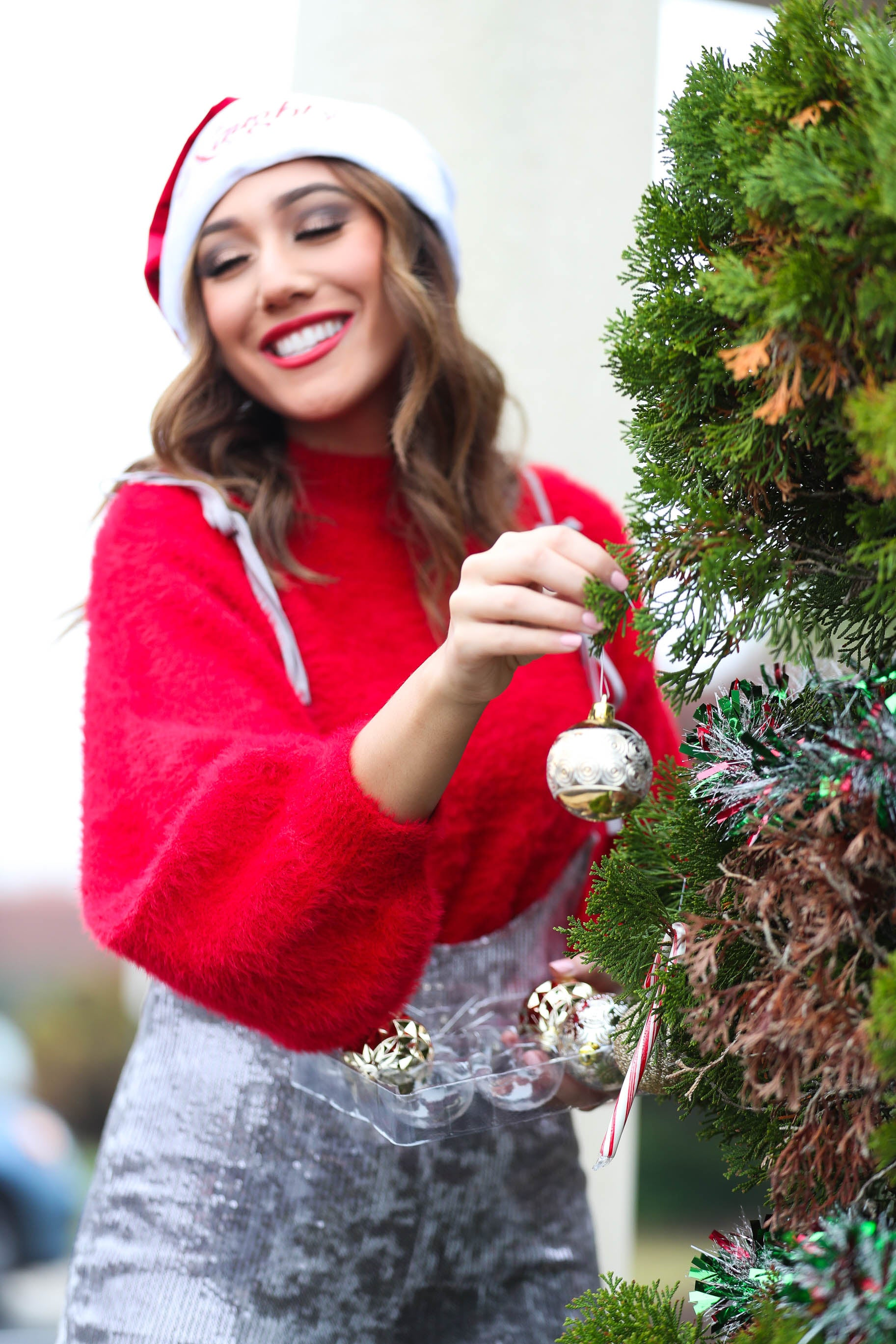 Tinsel and Holly Red Balloon Sleeve Fuzzy Sweater - The Flawless Babe Boutique