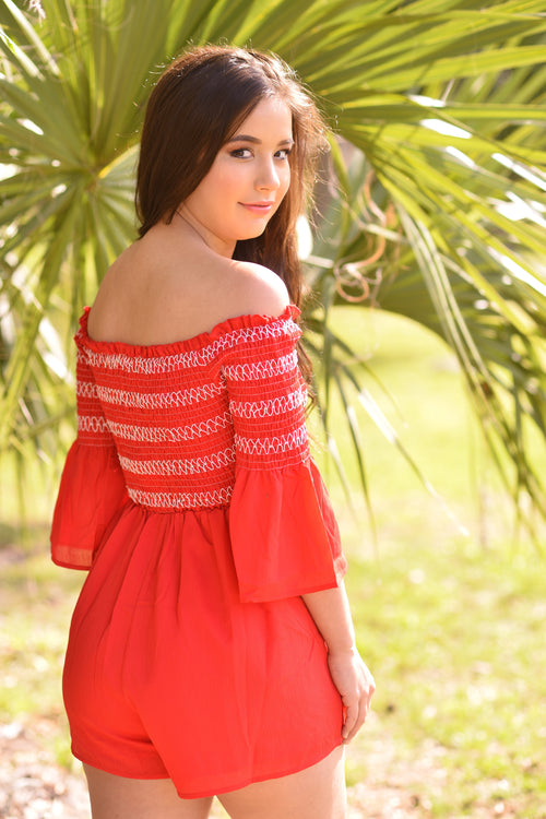 Fiery and Free Bell Sleeve Romper