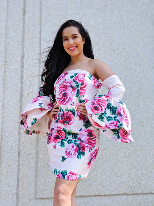 Pink Roses Off The Shoulder Bell Sleeve Dress