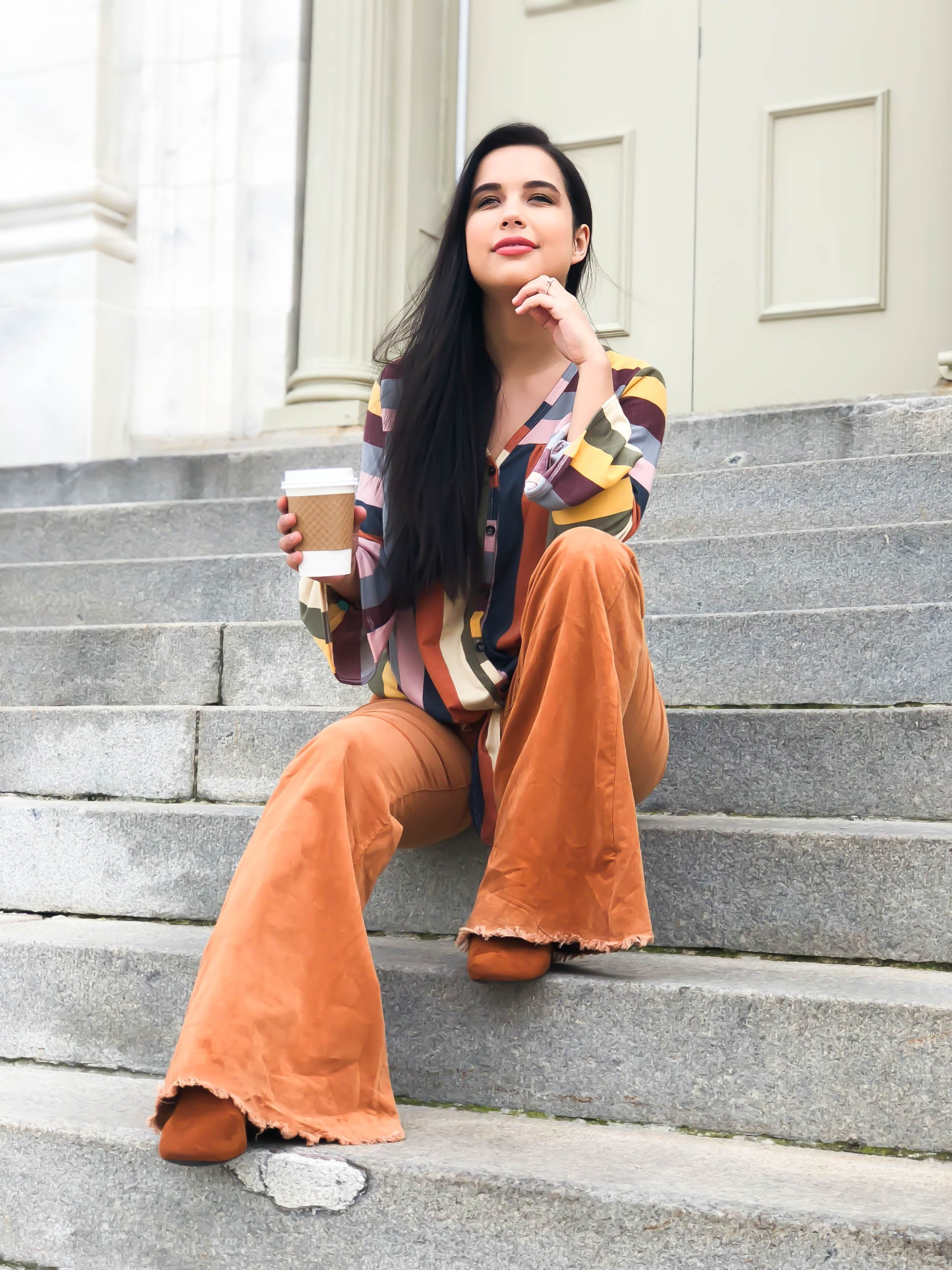 Pumpkin Latte High Waisted Corduory Flares - The Flawless Babe Boutique
