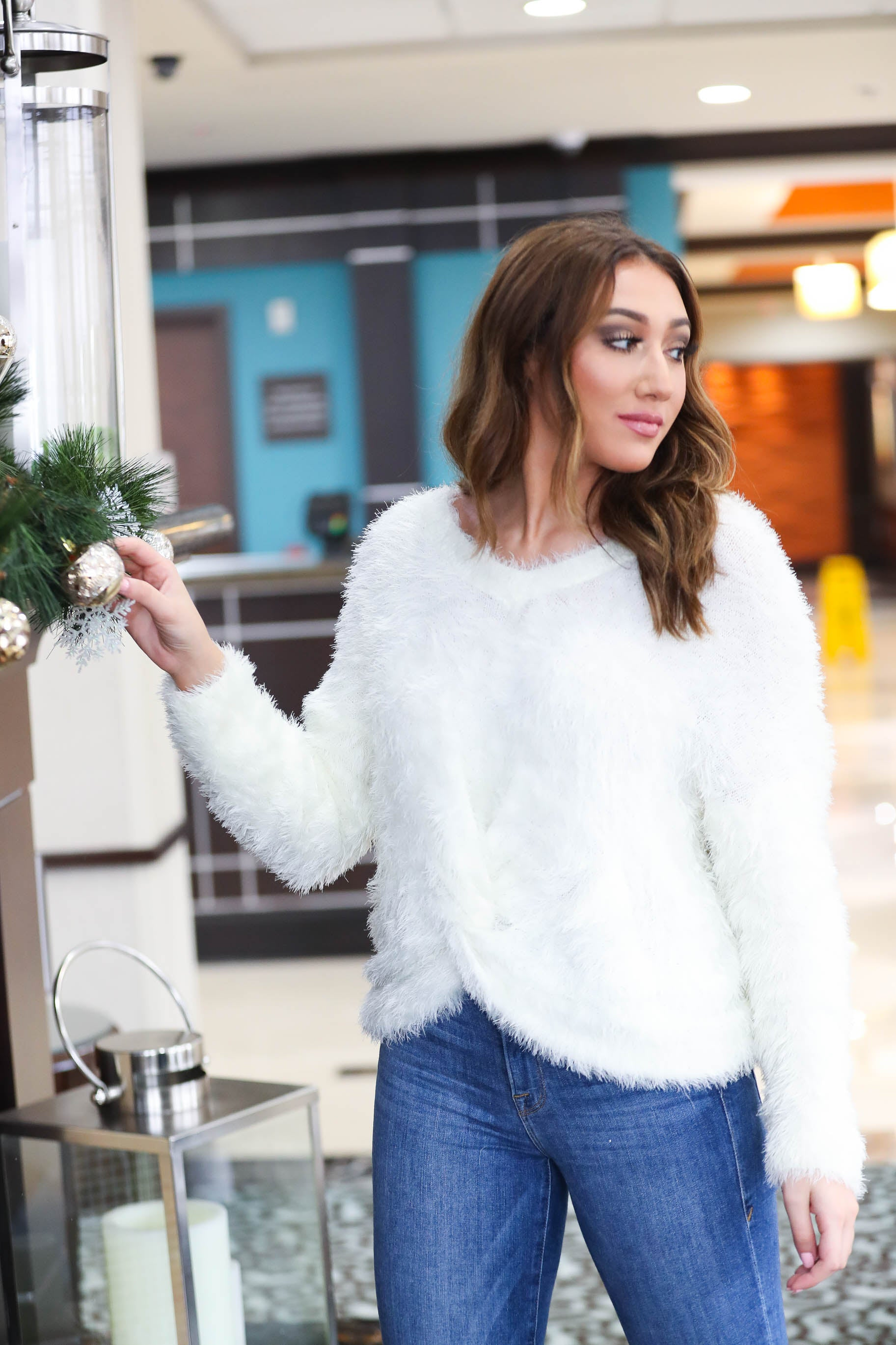 Snowfall Twist Front Fur Sweater