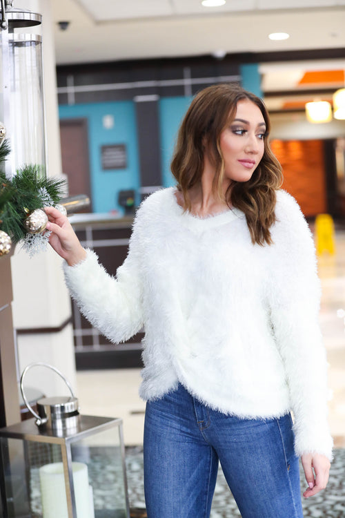 Snowfall Twist Front Fur Sweater - The Flawless Babe Boutique