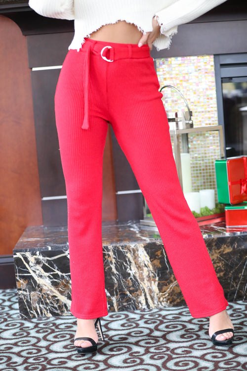 Hot Stuff High Waisted Belted Knit Pants