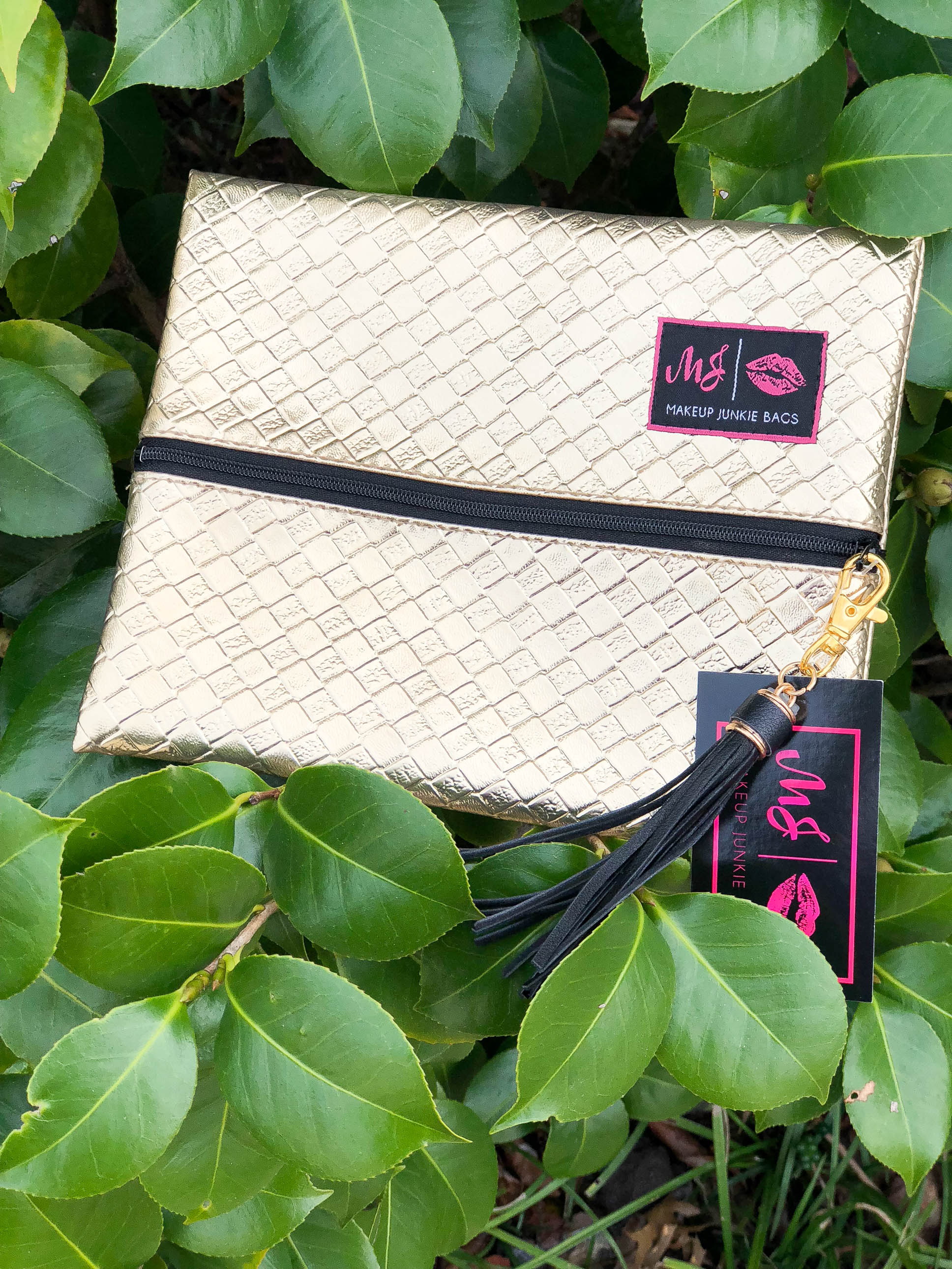 Gold Rush (onyx zipper)- Makeup Junkie Bag - The Flawless Babe Boutique