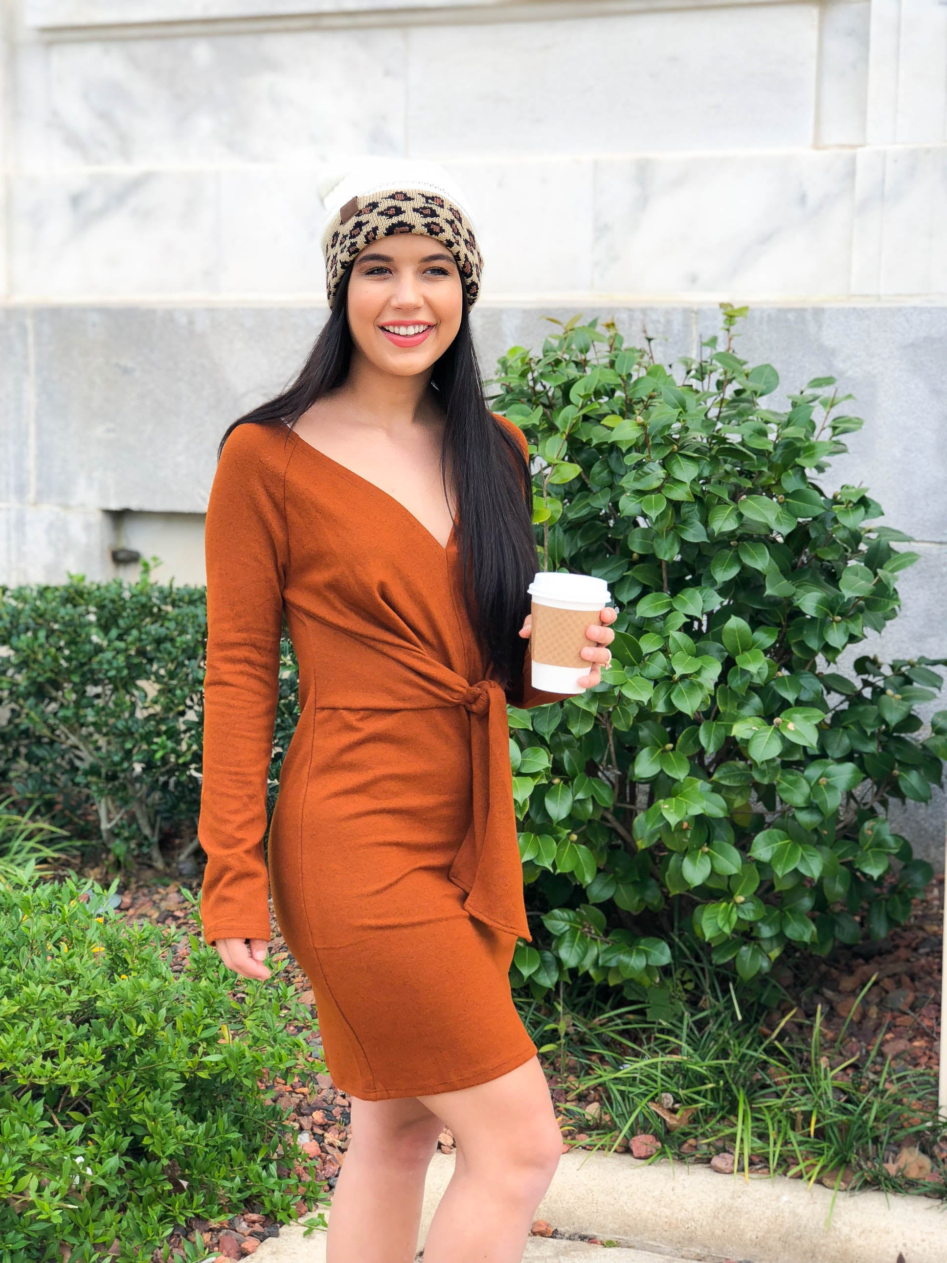 Chestnuts Roasting Tie Front Sweater Dress - The Flawless Babe Boutique