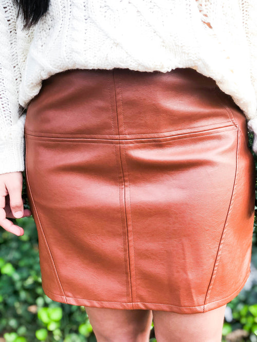 Monica Pleather Skirt - The Flawless Babe Boutique