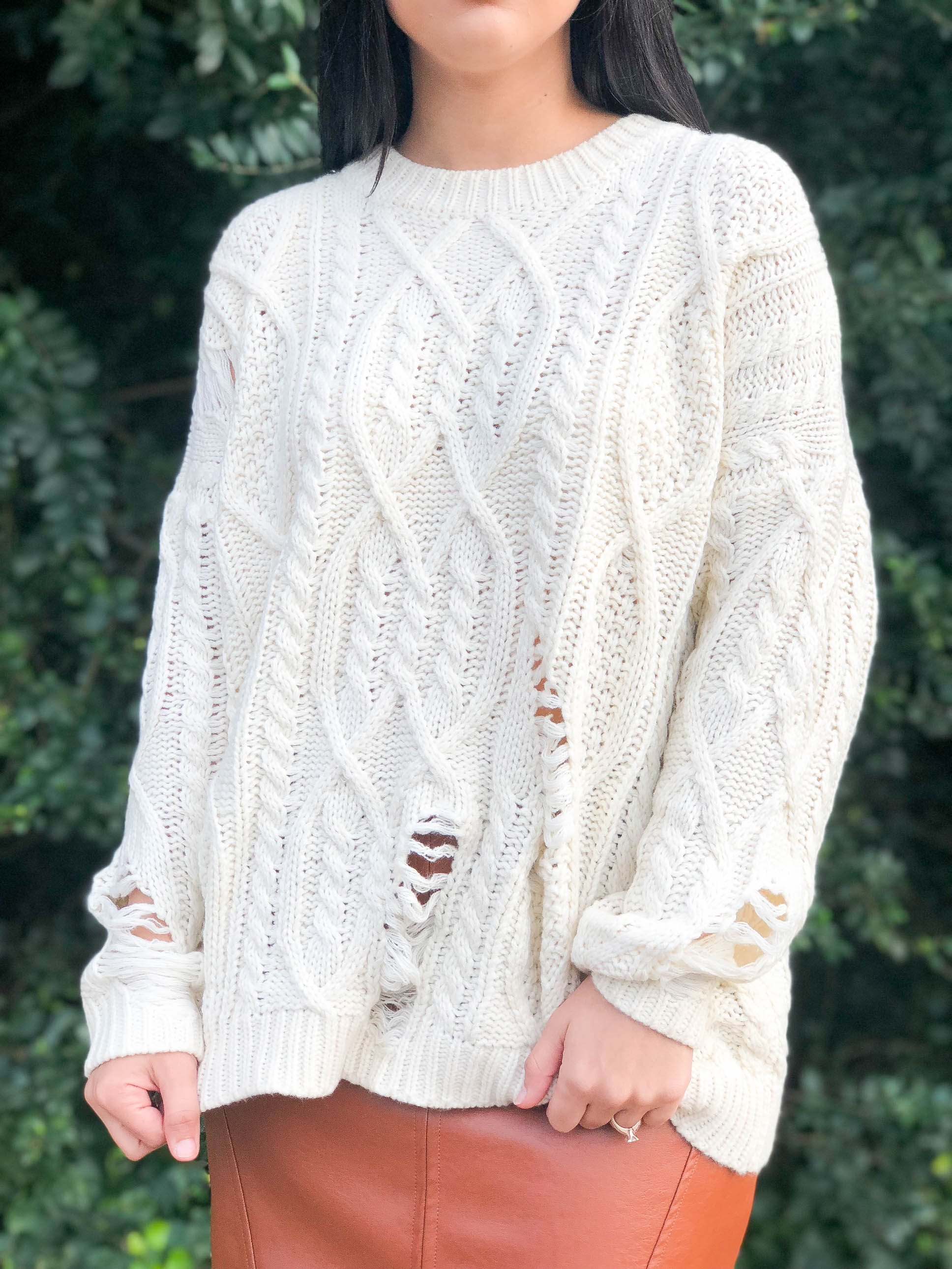 Marshmellow World Ripped Knit Sweater - The Flawless Babe Boutique
