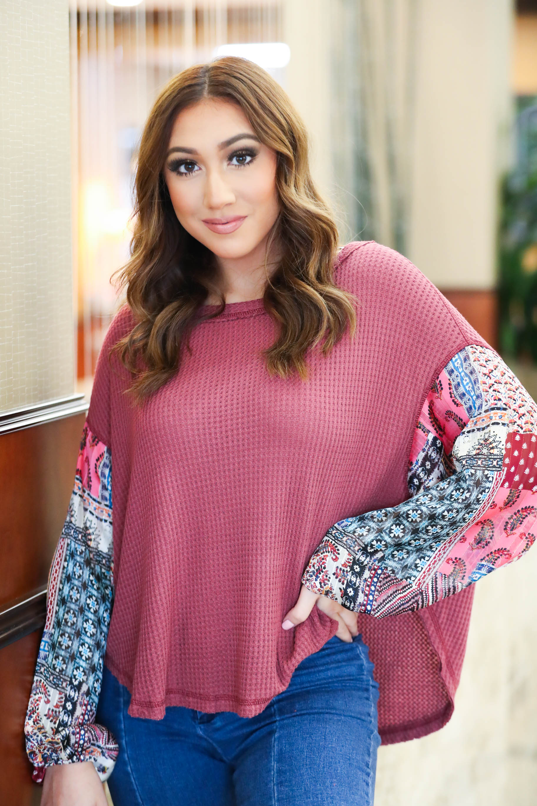 California Chic Mulit-Patterned Sleeve Sweater