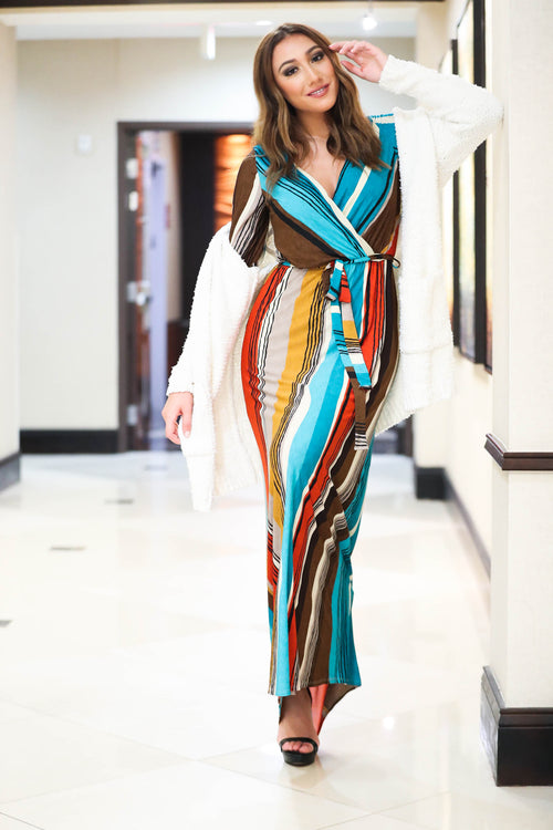 A Groovy Thanksgiving Striped Maxi Dress - The Flawless Babe Boutique