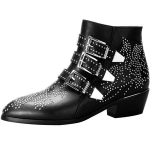 Studded Buckle Leather Ankle Booties - Popcheeks