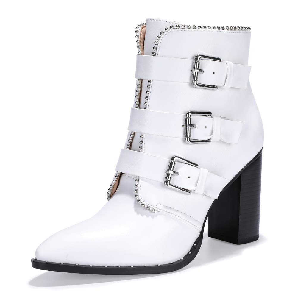 White Buckle Ankle Boots - Popcheeks Printed Undies
