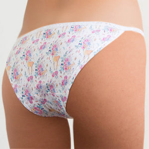 Popcheeks Undies Printed Panties | Floral Fawn Lace String Bikini | Fall, Fall Collection, Lace String Bikini, meta-size-chart-lace-string-bikini-size-chart, Panties, spring, summer, Underwear, valentines | 1025