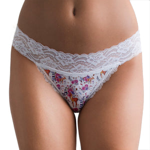 Floral Fawn Lace Thong - Popcheeks Printed Undies