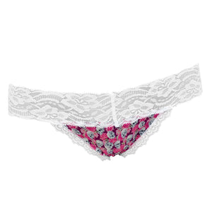 Popcheeks Undies Printed Panties | Skull Blooms Lace Thong | Fall, Fall Collection, Lace Thong, meta-size-chart-lace-thong-size-chart, Panties, spring, summer, Underwear, valentines | 224
