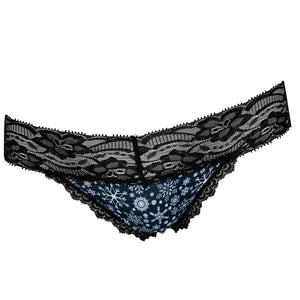 Popcheeks Undies Printed Panties | Christmas Black Snowflakes Lace Thong | Fall, Fall Collection, Lace Thong, meta-size-chart-lace-thong-size-chart, Panties, Underwear | 206