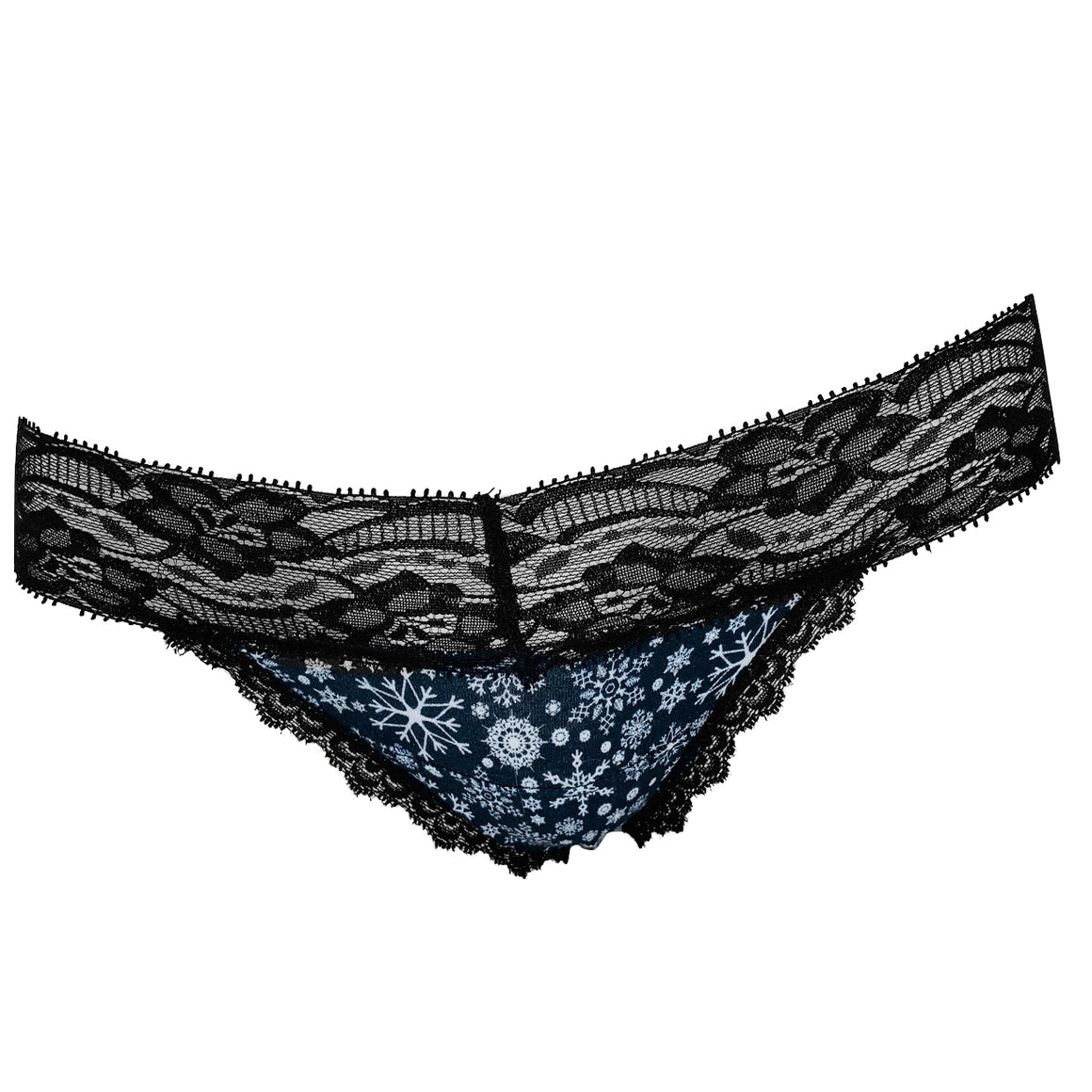 Christmas Black Snowflakes Lace Thong - Popcheeks Printed Undies