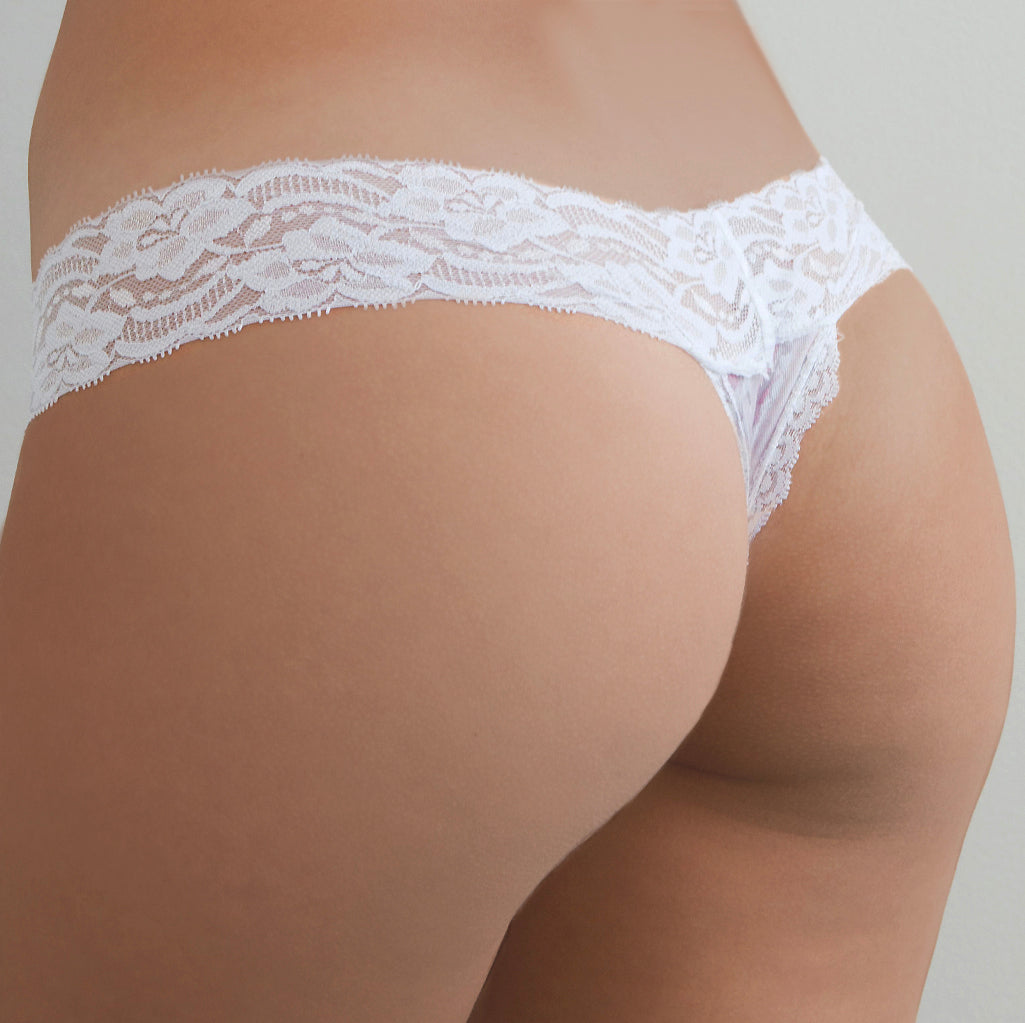 Christmas Pink Baubles Lace Thong - Popcheeks Printed Undies