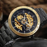 Black and Gold Classic Skeleton Watch