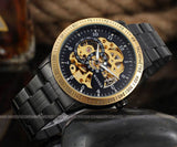 Vintage Black and Gold Men's Skeleton Stainless Steel Wristwatch