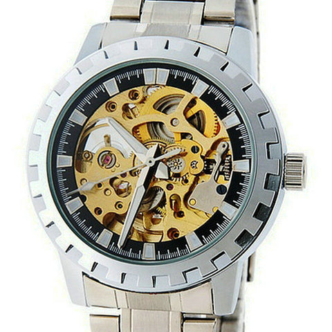 Hollow Automatic Mechanical Skeleton Stainless Steel Wristwatch
