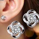 Silver Coated Four-Leaf Colover Design Ladies Earring Studs