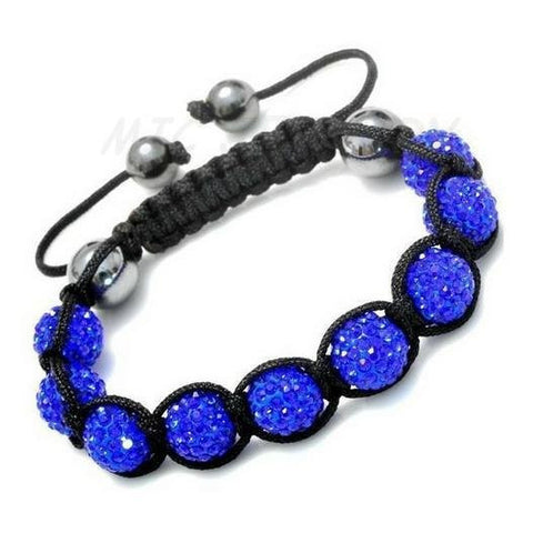 10mm Crystal Ball Bead Friendship Shamballa Adjustable Black Bracelet