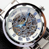 Stylish Skeleton Stainless Steel Silver Men's Watch