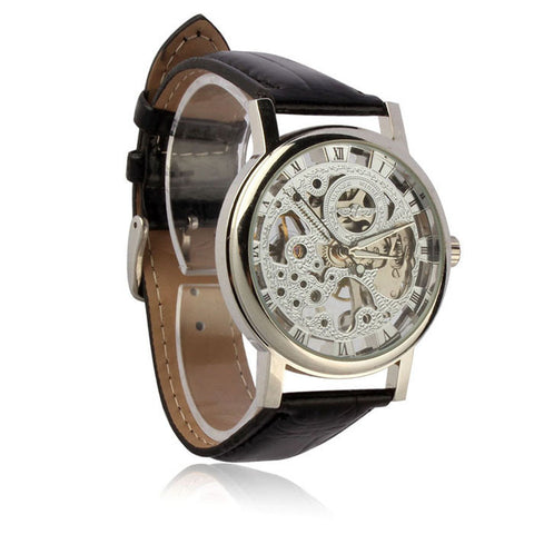 Mens Luxury Mechanical Skeleton Watch Leather Strap Wristwatch