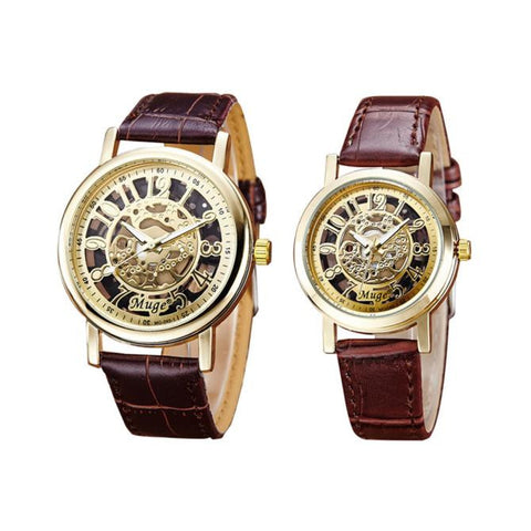 Pair of Casual Everyday Skeleton Watches for Him and Her