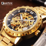 Luxury brand steel men male military clock automatic Skeleton mechanical Watch self wind fashion luxury quality gift Steampunk