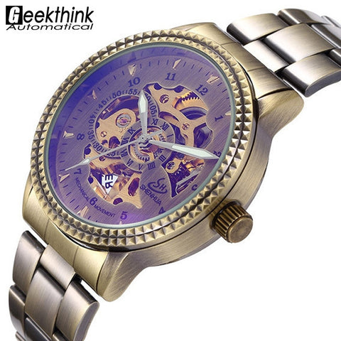 Classic Bronze Men's Stainless Steel Automatic Skeleton Watch