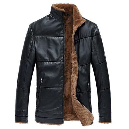 AOWOFS PlusSize Fur Lined Leather Jacket - Pricedok