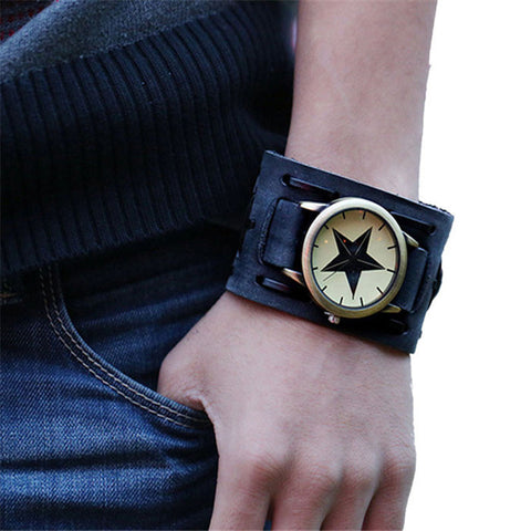 Retro Leather Bracelet Watch - Pricedok