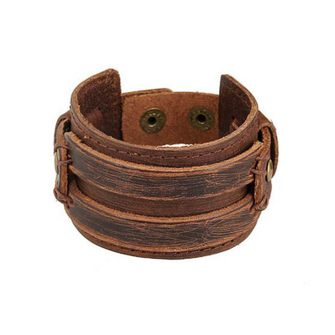 Handmade Men Alloy Buckle Punk Leather Wristband Bracelets Bangles - Pricedok