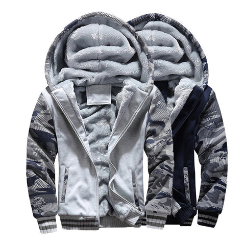Mens M-4XL Winter Warm Fleece Hood Zipper Sweater Jacket Outwear Coat - Pricedok