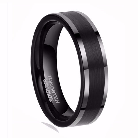 6mm Black Tungsten Carbide Ring - Pricedok