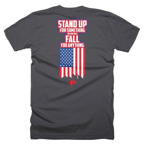 """PROUDLY AMERICAN - STAND UP"" 100% USA MADE P+ T-Shirt - Pricedok"