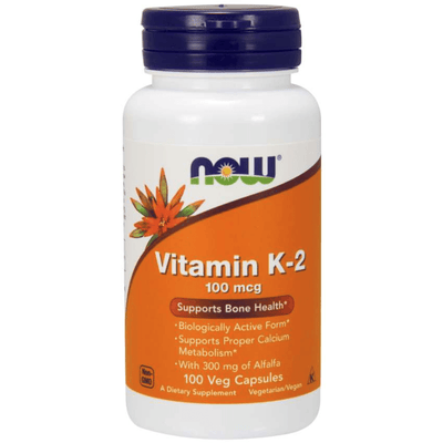 NOW Vitamin K-2 100mcg - 100 Veg capsules