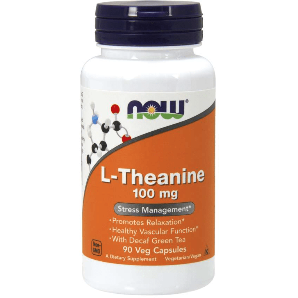NOW L-Theanine 100mg w/ Green Tea 90 vcap