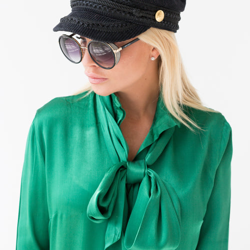 Pussy Bow Shirt Green