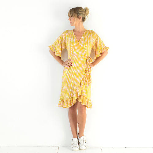 Lotta Wrap Dress Yellow Dots