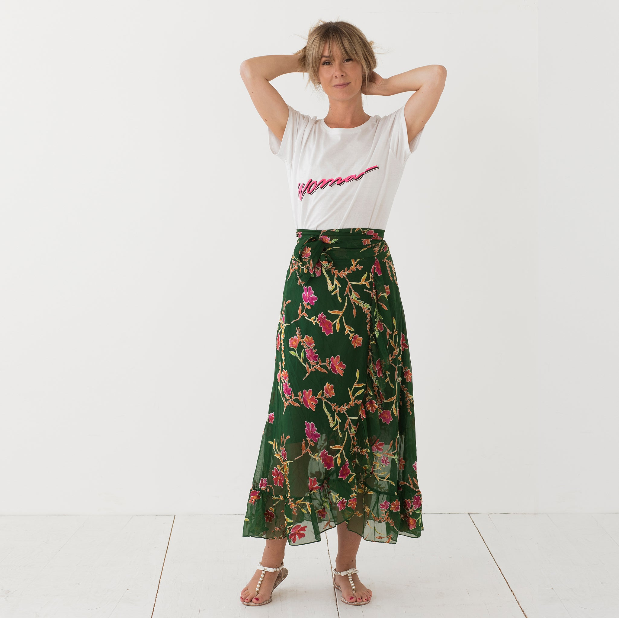 Juni skirt green flower