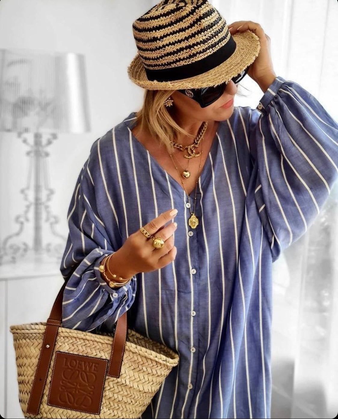 Beach Dress Blue Stripe