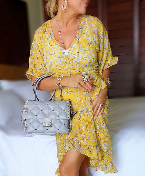 Lotta Wrap Dress Yellow flower