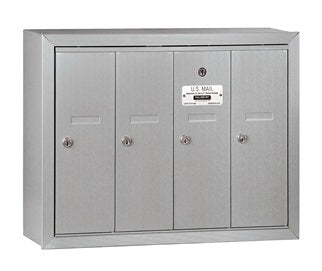 4 Unit - Vertical 4B+ Mailbox - Surface Mounted