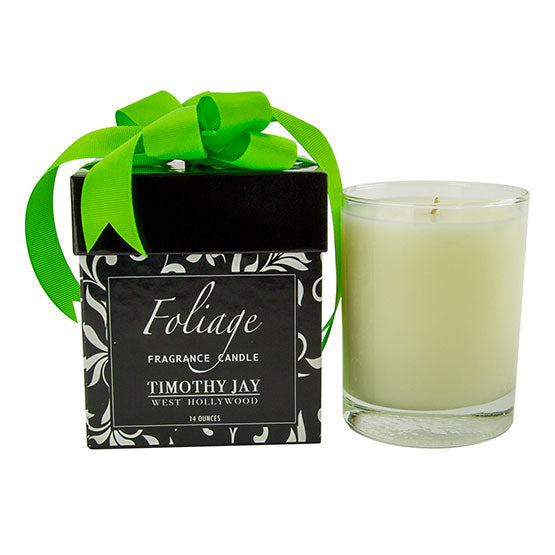 green foliage fragrance candle glass tumbler