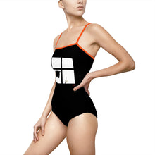 Cat with Dragonfly One-piece Swimsuit with Spaghetti Straps