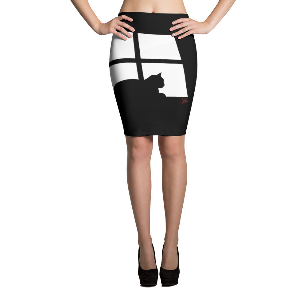 Lying Cat Pencil Skirt